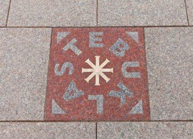 Miracle Plate (Stebuklas) near St. Stanislov Cathedral, Vilnius,