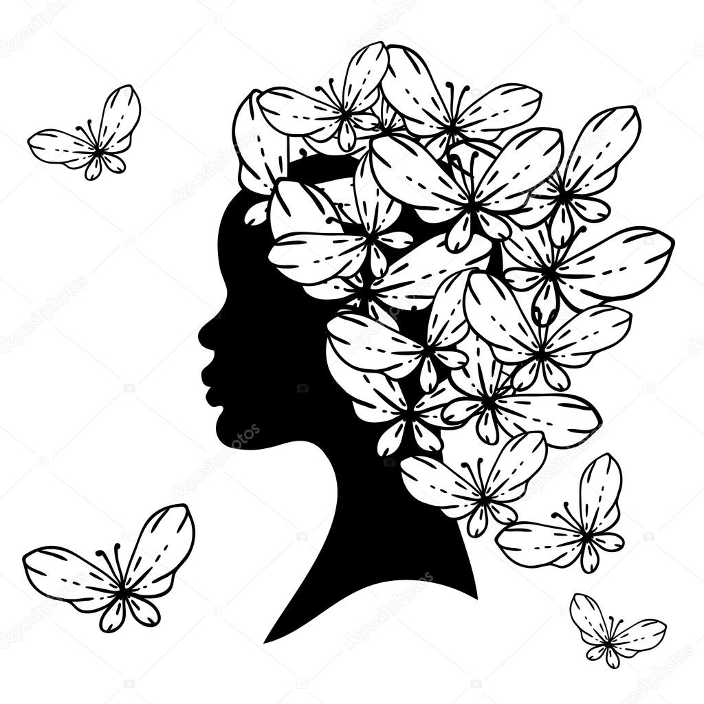vector silhouette of beautiful woman with hairstyles. — stock