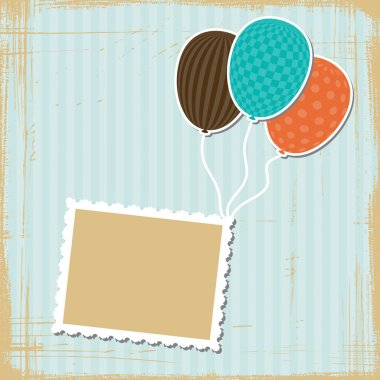 Card with flying balloons in retro style. clip art vector