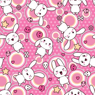 Seamless pattern with doodle. Vector kawaii illustration. stock vector