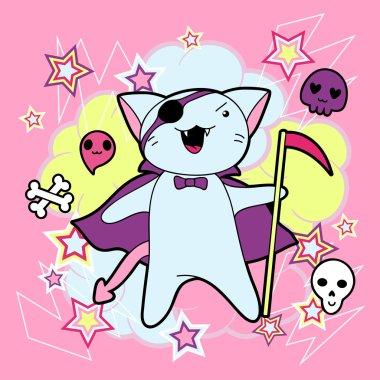 Vector kawaii illustration Halloween cat and creatures.