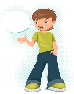 Young teen boy says something. Vector illustration.