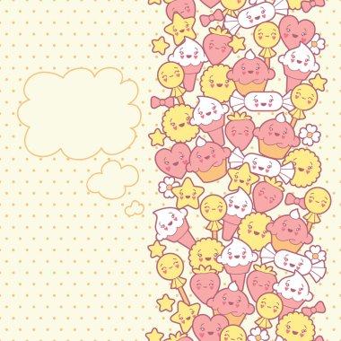Seamless kawaii pattern with cute cakes.