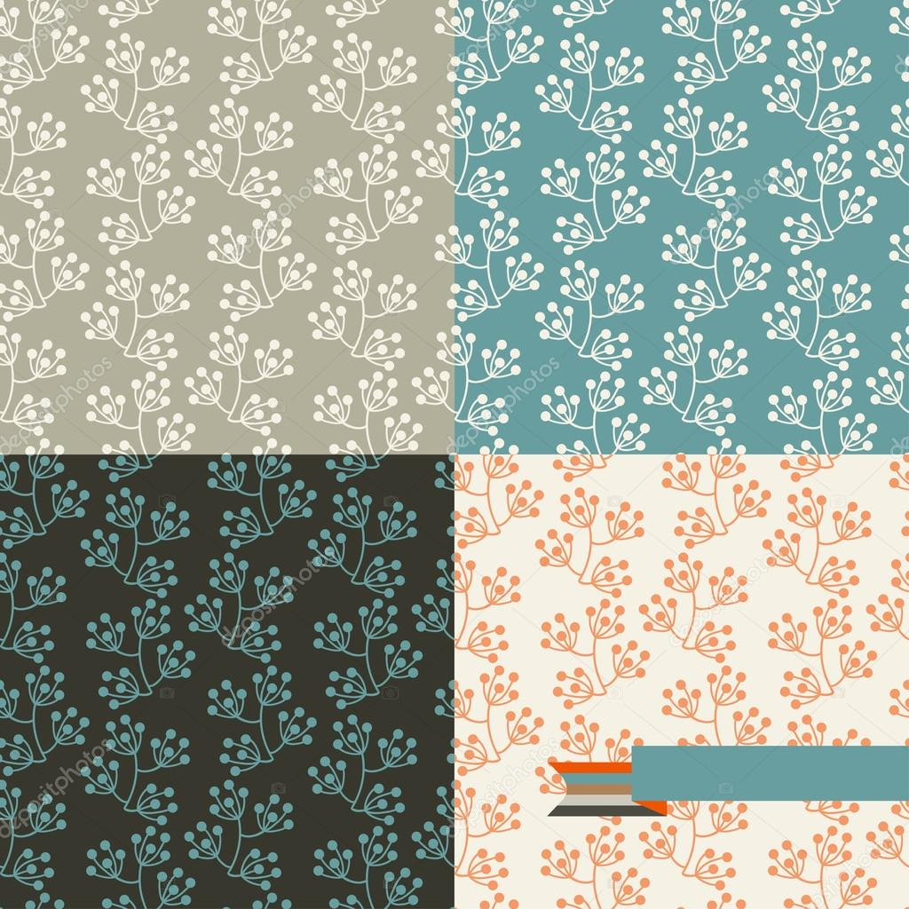Set of four floral retro seamless patterns.