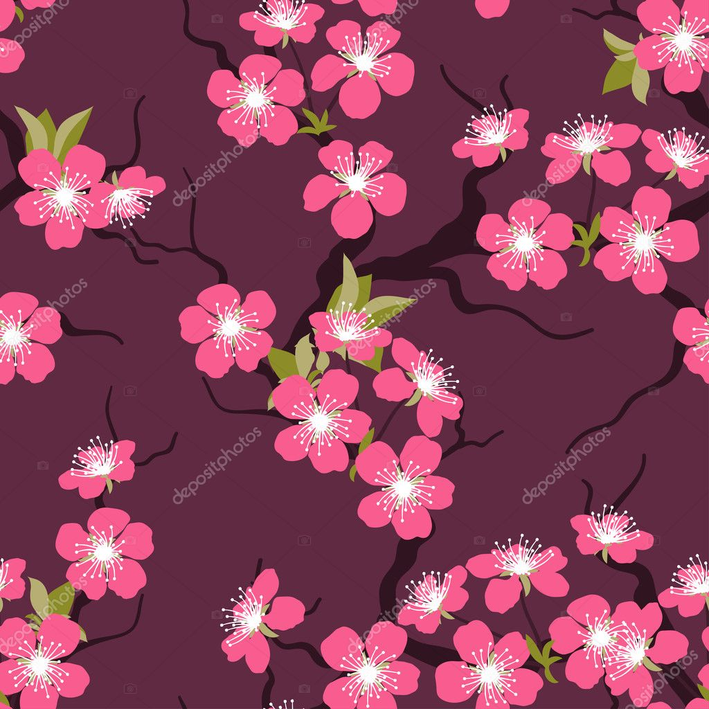 Cherry blossom seamless flowers pattern.