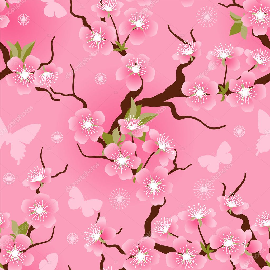 Cherry blossom seamless flowers pattern.