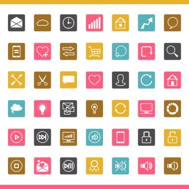 Set of 42 SEO internet icons.
