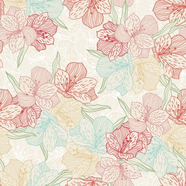 Abstract flower pattern with orchid.