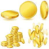 Fotografie kolekce ilustrací, ikony a zlatých mincí