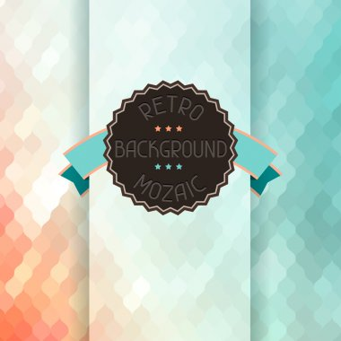 Mosaic background with ribbon and badge in retro style. clip art vector