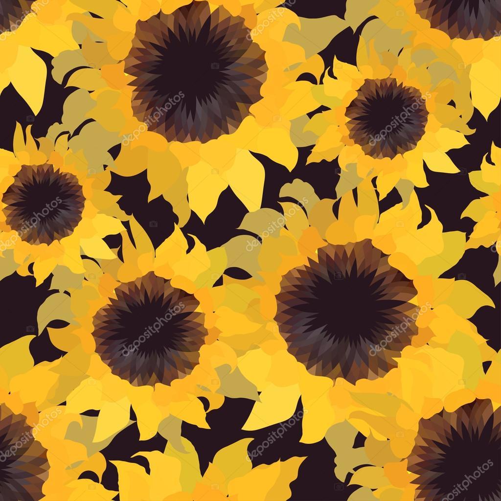 Sunflower flower seamless pattern.