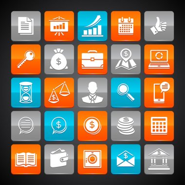 Set of glossy business and money web icons.