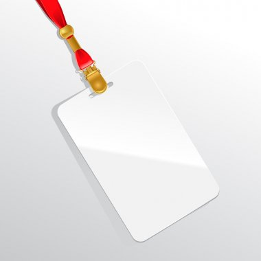 Blank badge on a red neckband.