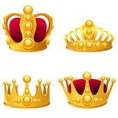 Fotografie Set of gold crowns isolated.