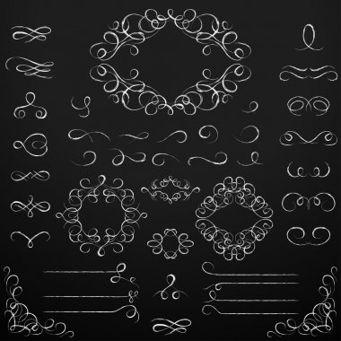 Chalkboard set of calligraphic design elements.