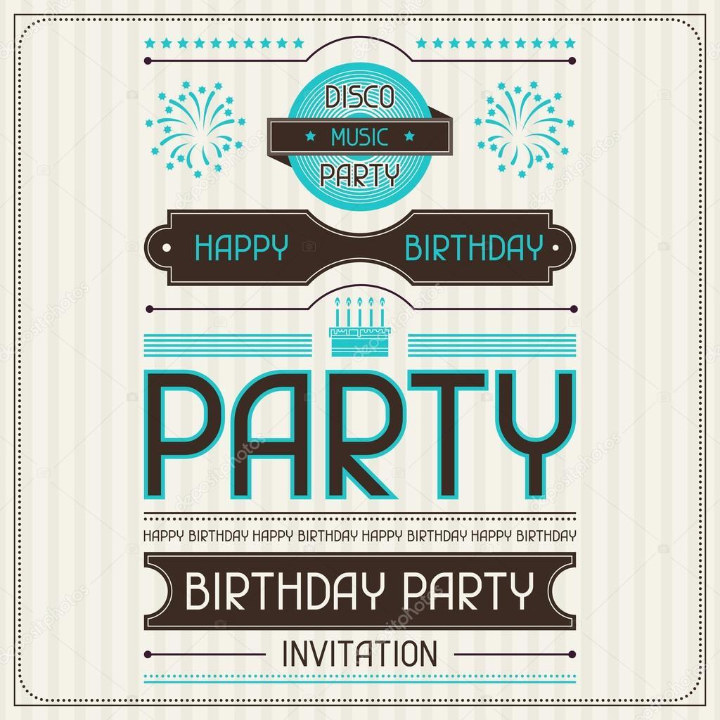 Invitaciones Cumpleaños Retro Tarjeta De Invitación Para