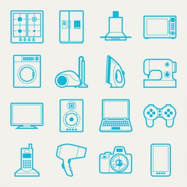 Set of home appliances and electronics icons.