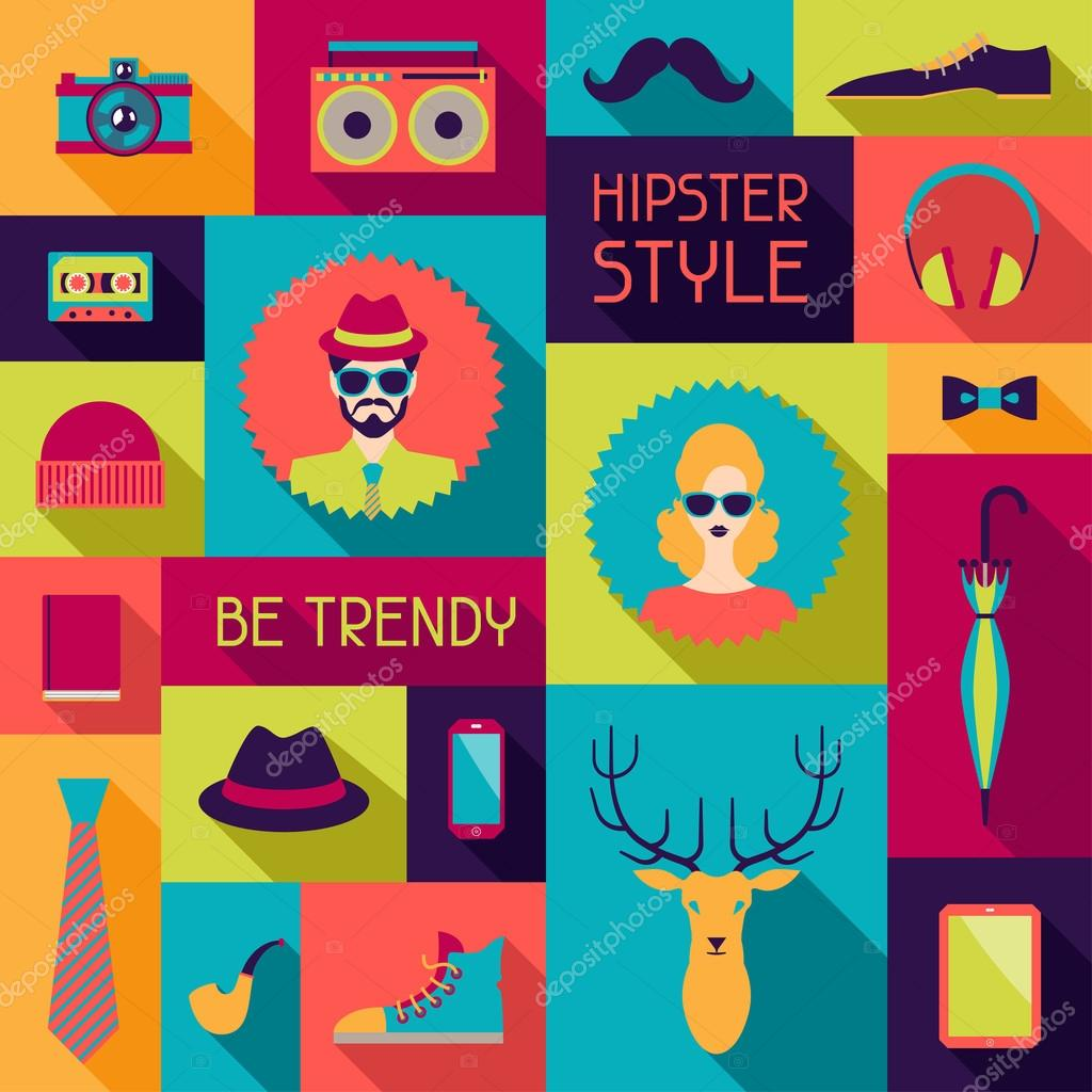 Hipster background in flat design style stock vector for Decorating quiz