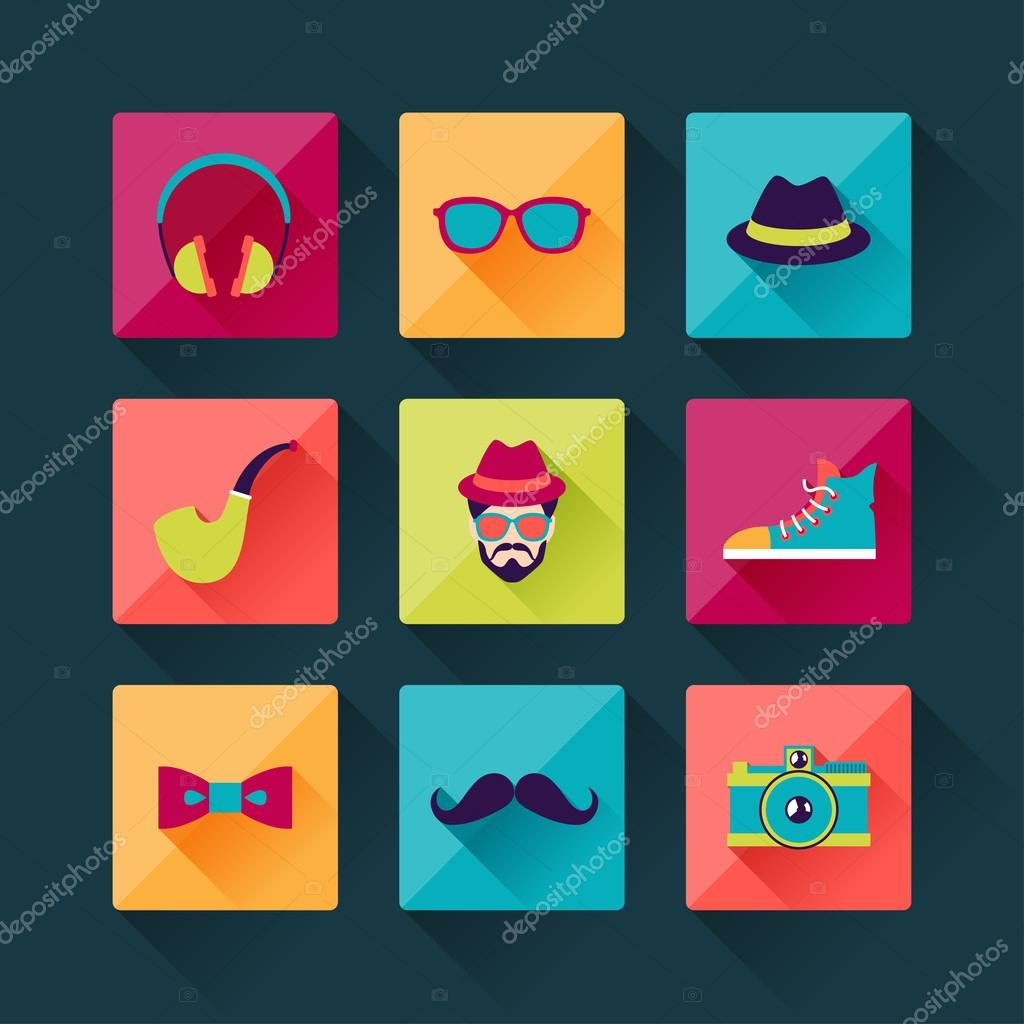 Set of hipster icons in flat design style stock vector for Flat design pictures