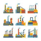Fotografie továrních budov ikony nastavit v plochý design stylu