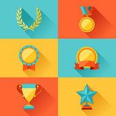 Fotografia Trofeo e premi in stile design piatto