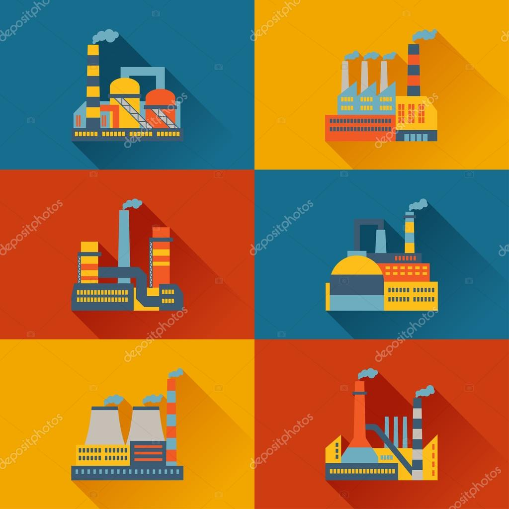 Industrial factory buildings in flat design style.