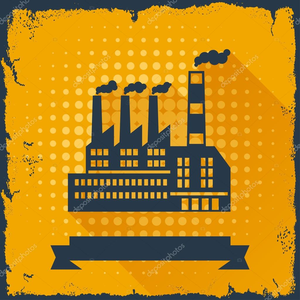 Industrial factory building background.