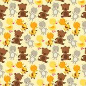 Fotografie bezešvé pattern baby kočka, medvěd, liška a kachna