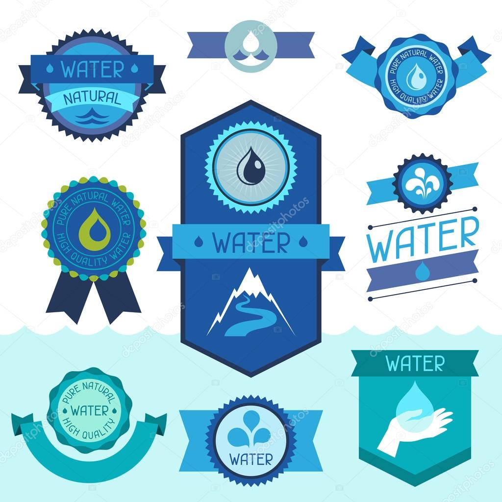 Set of water labels, badges and stickers.
