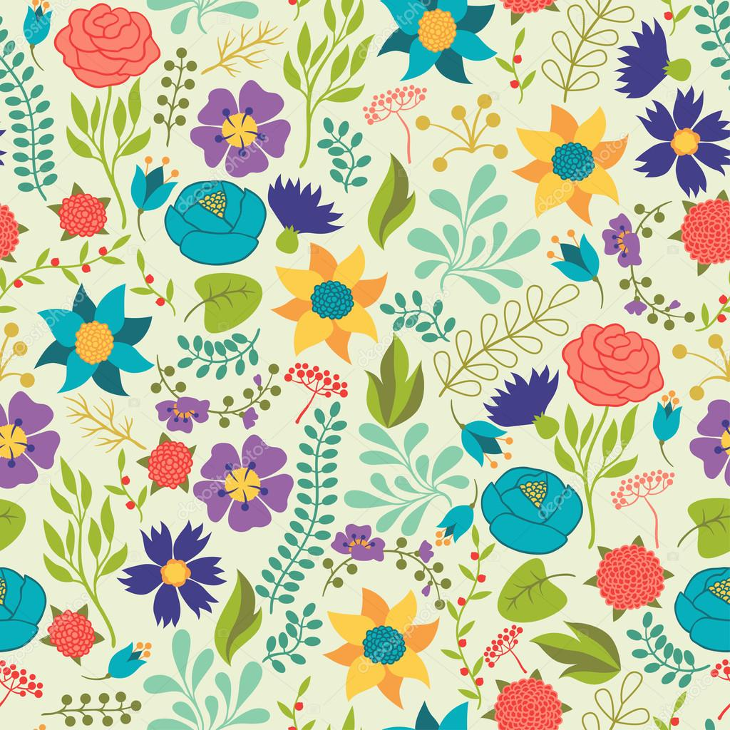 Romantic seamless pattern of various flowers in retro style.