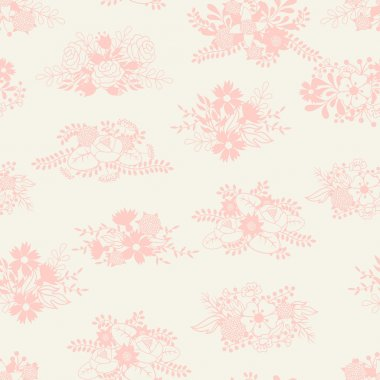 Romantic seamless pattern of floral bouquets in retro style.