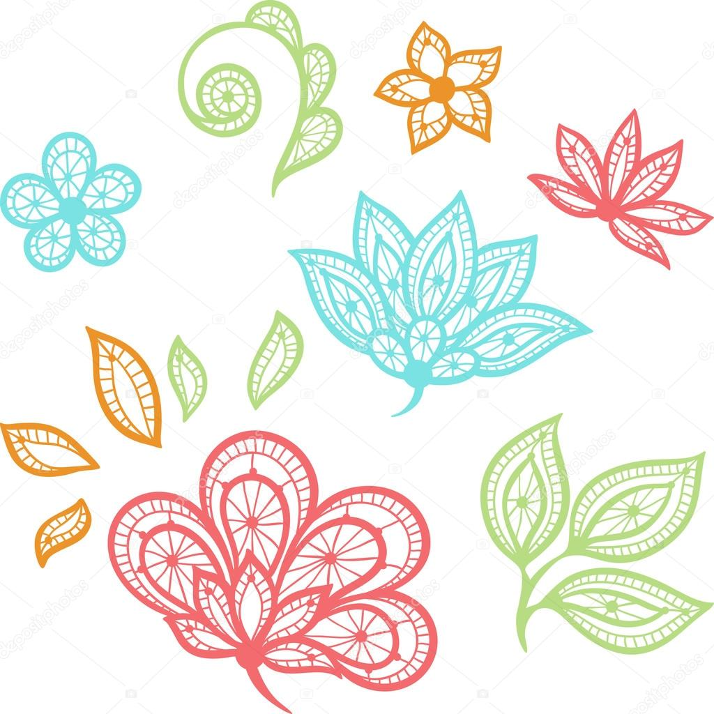 Lace floral color elements isolated on white.
