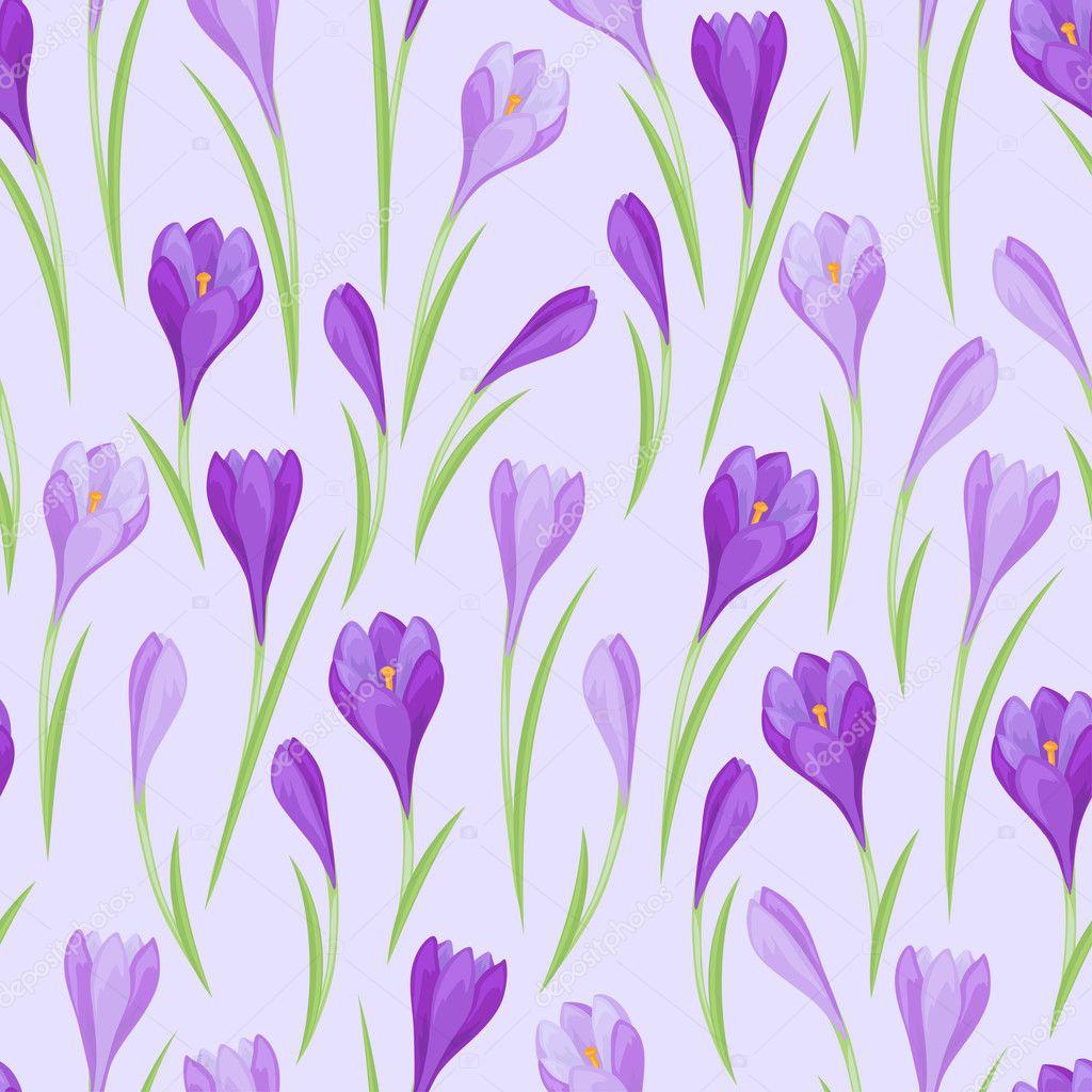 Spring flowers crocus natural seamless pattern.