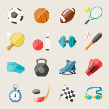 Set of sport icons in flat design style. stock vector