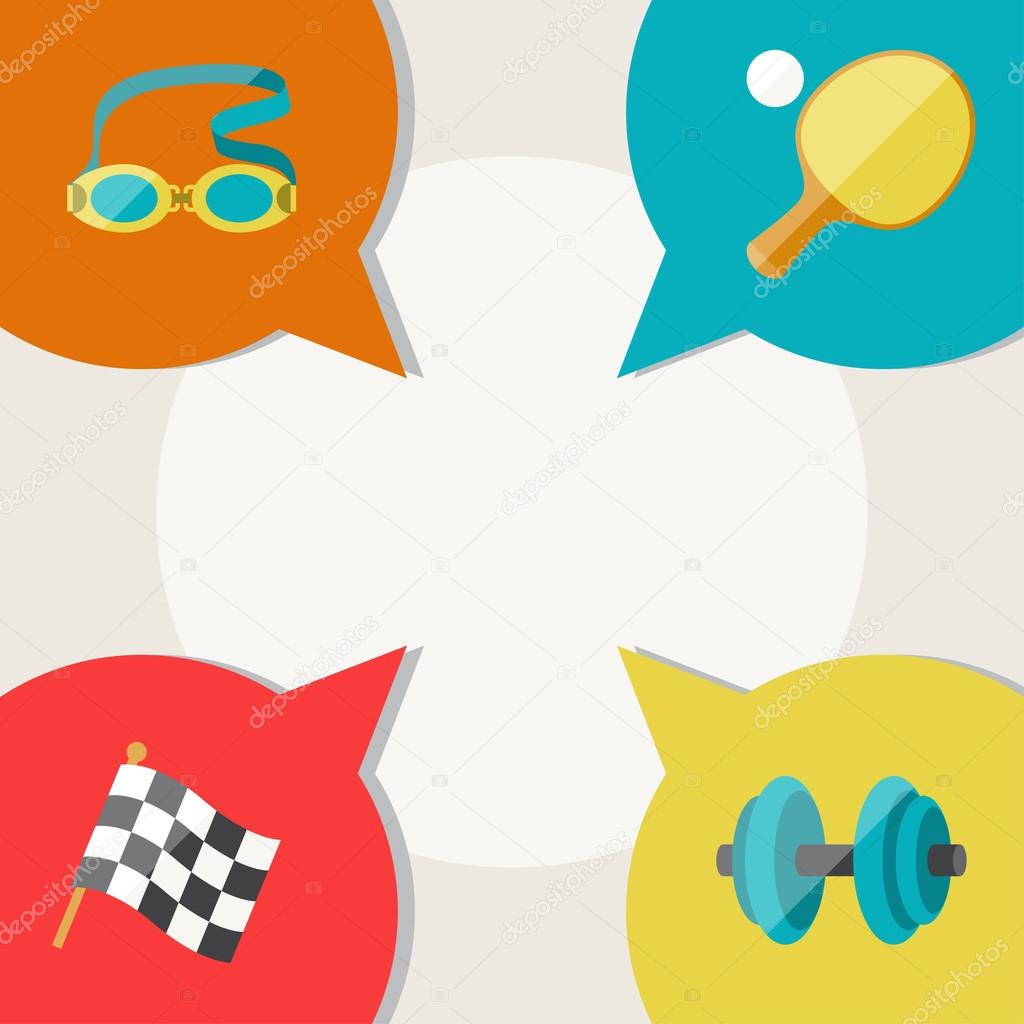 Sports abstract background with speech bubbles.