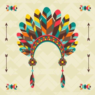 Ethnic background with headband in navajo design.