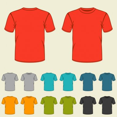 Set of templates colored t-shirts for men.