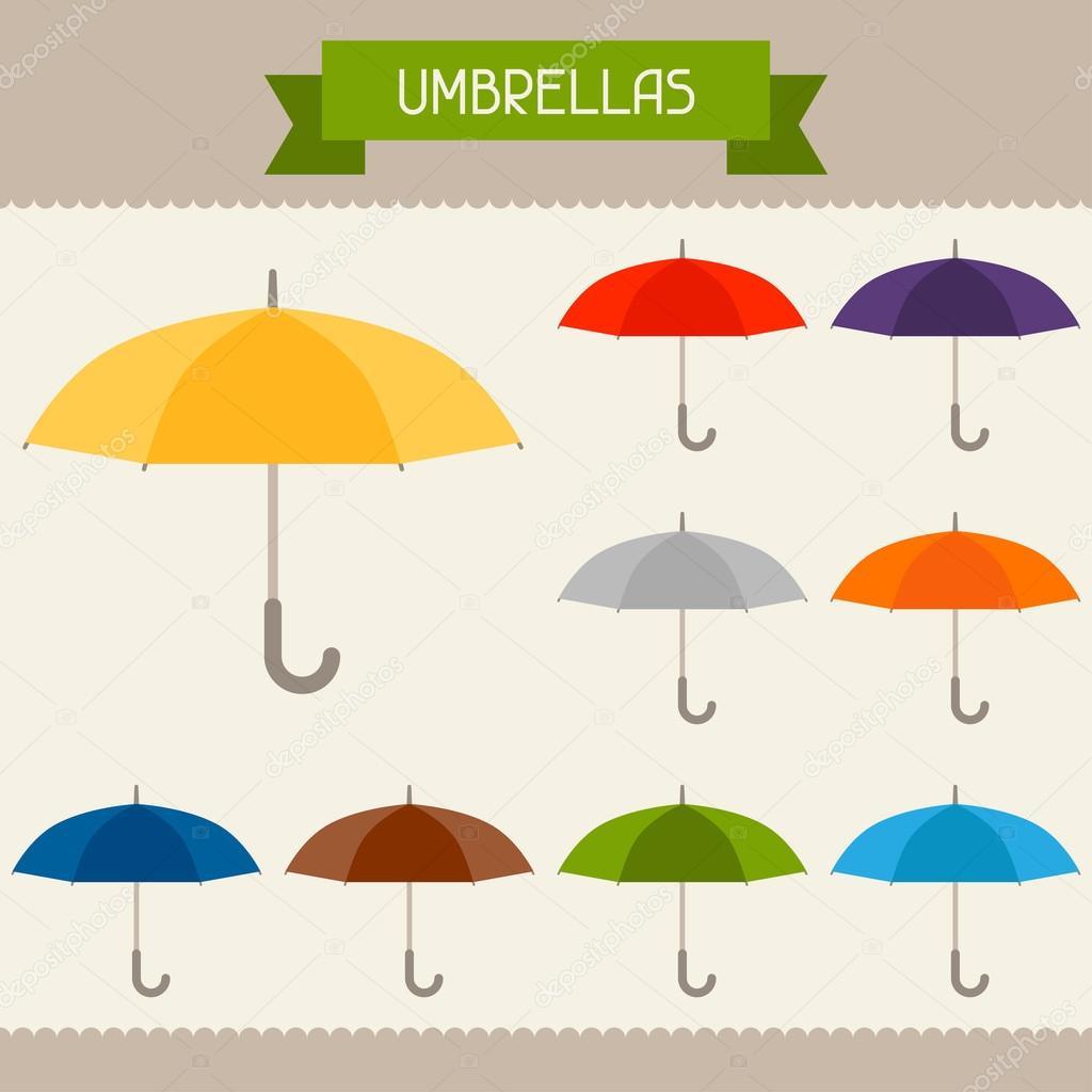 Regenschirme farbige Vorlagen für Ihren Entwurf in flache ...