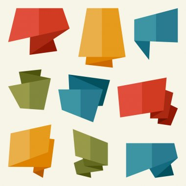 Origami banners and speech bubbles in flat design style.