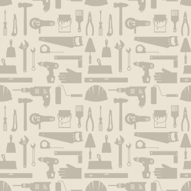 Seamless pattern with repair working tools icons.
