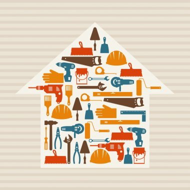Repair and construction illustration with working tools icons. clip art vector