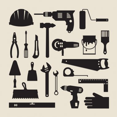 Repair and construction working tools icon set.