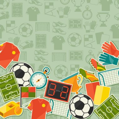 Sports background with soccer (football) sticker icons.