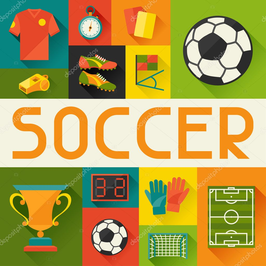 Sports background with soccer (football) flat icons.