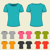 Set of templates colored t-shirts for women.