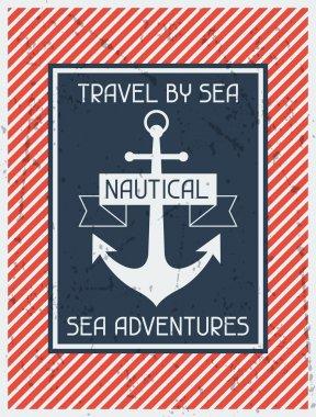 Nautical. Retro poster in flat design style.