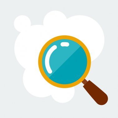 Magnifying glass research concept illustration in flat style.