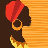 silueta africké dívky v profilu s náušnice.