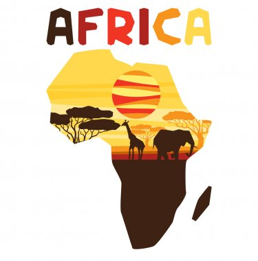 African ethnic background with illustration of map.
