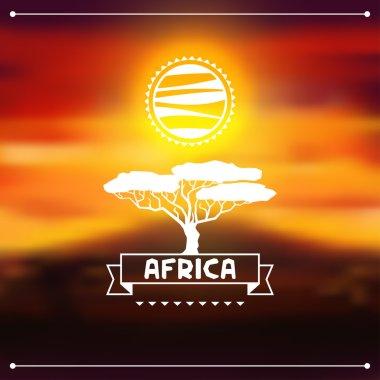 African ethnic background on evening savanna landscape.